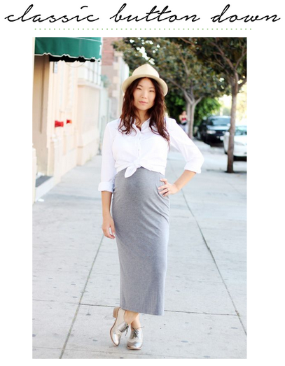 maternity style white oxford